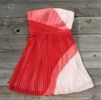 Colorblocks & Pleats Dress, Sweet Women's Country Clothing
