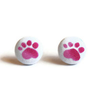 Paw Print Pink Fabric Covered Button Earrings