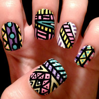 Aztec/tribal fake nails by CompulsiveNails on Etsy