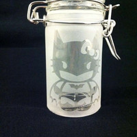 Etched Dark Knight Kitty Airtight Glass Jar