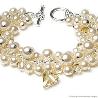 Cream Chiffon Swarovski Pearl & Crystal by whimsydaisydesigns