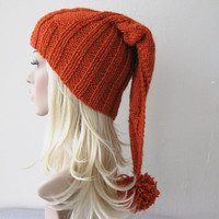 Orange Brick Color Beanie Hat Chunky Slouchy Hat with by fairstore