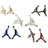 Amazon.com: Set of 10 Michael Jordan Inspired Stud Earrings Jumpman GOLD/SILVER/RED/BLUE/BLACK/ORANGE Iced CZ: Everything Else