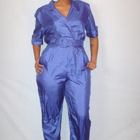Vintage 1980s Deep Purple Jumpsuit/ Plus Size
