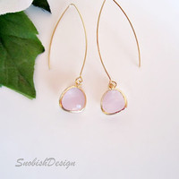 Drop Earrings  Long Earrings  Pink Faceted Glass by SnobishDesign