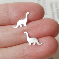 Dinosaur Earring Studs In Sterling Silver, The Brontosaurus Version