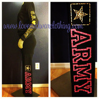 Customizable Yoga pants Military Support Army USMC Navy USAF USCG