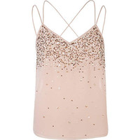 Beige embellished multi strap cami top