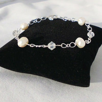 "French Silver Chain Bracelet with Clear Glass Bicones & Freshwater Pearls, ""Essence"""