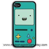 iPhone 4 Case, iphone 4s case - Adventure time Beemo BMO pattern print black iPhone Case