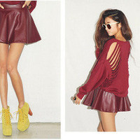 Vixen Boutique — Faux Leather Skater Skirt