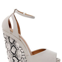 Lexi 5 Off White and Python Print Platform Wedge Sandals