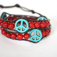 Coral and Turquoise Wood Peace Sign Leather Beaded Wrap Bracelet