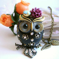 3D Chubby Owl Necklace Black