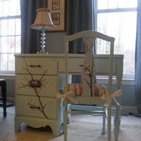 Hand painted floral desk & chair
