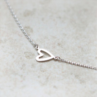 Open Heart Necklace in silver by laonato on Etsy