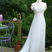 Wedding dress 1970s vintage gown fitted bodice fab lace appliques on chiffon
