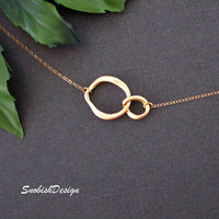 Circle Necklace  Linked Circle Necklace  Double by SnobishDesign