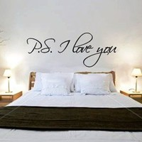 "~Romantic Gift ~ ""P.S. I Love You"" Vinyl Wall Art Decal Decor Sticker -TIED w/BOW!"