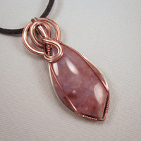 Burro Creek Agate Wire Wrapped Pendant and Black by UptightWanda