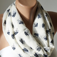 Infinity Scarf, Loop Scarf  handmade from cream with swan chiffon  linen