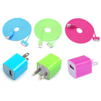 Total 6pcs/lot! Nice Colourful 3PCS USB Data Charging Cable Cord And 3PCS USB Power Adapter Wall Charger For Iphone 4/4s