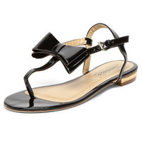 Black bow flat sandal - Flats - View All Shoes  - Shoes