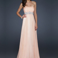 Vintage Pink Strapless Neckline Sequins Chiffon Floor Length Graduation Dress      from SinoAnt