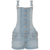 Parisian Light Blue Button Up Denim Dungarees
