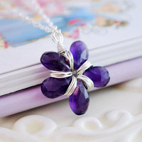 Amethyst Necklace Flower Girl February Birthday Dark Purple Genuine Gemstone Jewelry Sterling Silver