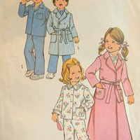 Simplicity Pattern 7068 Children&#x27;s Robe 2 Lengths and Pajamas, Size 2