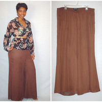 Vintage 1990s  Palazzo Pants Brown/ Plus Size