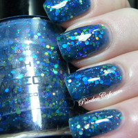 Shipwreck Nail Polish - Custom Blended Blue Green Glitter Nail Lacquer- 0.5 oz Full Sized Bottle