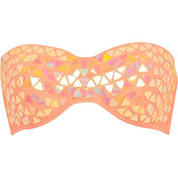 Coral triangle sequin embellished bikini top