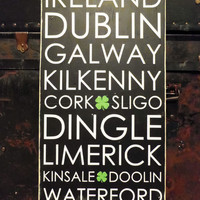 Typography Wood Sign- Irish Cities Subway Art Wall Decor