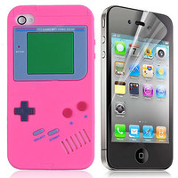 GameBoy Pattern Soft Silicone Case + Screen Protector for iPhone 4G - Pink $4.43 - Free Shipping, iPhone Cases & Armbands