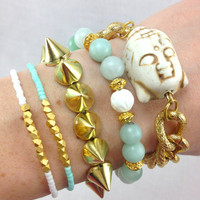 Buddha Mint and Gold Arm Candy Bracelet Set