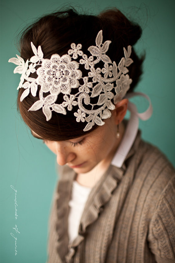 $42.00 Queen&#x27;s lace headband in pure white Garlands of by GarlandsOfGrace