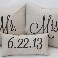 Mr. &amp; Mrs. Custom Pillow with Wedding Date