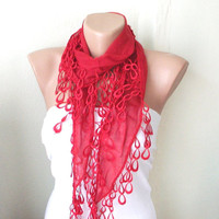 Red Cotton Scarf with Lace by Periay on Etsy