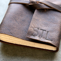 Initials  Leather Journal or Sketchbook  Dark by badgerandchirp