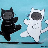 Ninja Cats Painting Boys Room Decor Kung Fu Fighting by andralynn