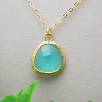 Aqua Glass Gold Framed Necklace  Bridesmaid by DanglingJewelry