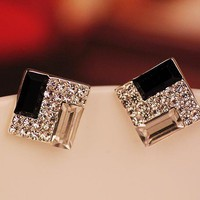 Fashion White and Black Rhinestone Earrings