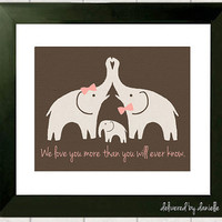 Nursery Art Print  Elephant Love  8x10 by DeliveredByDanielle