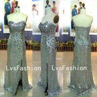 Strapless Sweetheart Sequin Silver Long Prom dresses, Evening Gown, Homecoming Dresses, Evening Dresses, Party Dresses
