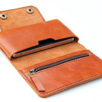 Leather iPhone wallet case in Orange Brown   with by BluePetalz