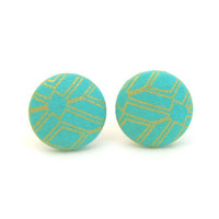 Fabric covered button stud earrings turquoise by AtelierYumi