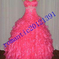 New Hot pink Quinceanera Dresses Party Prom Dress Stock Size2.4.6.8.10.12.14.16