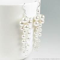 April in Paris Pearl & Crystal Earrings by whimsydaisydesigns